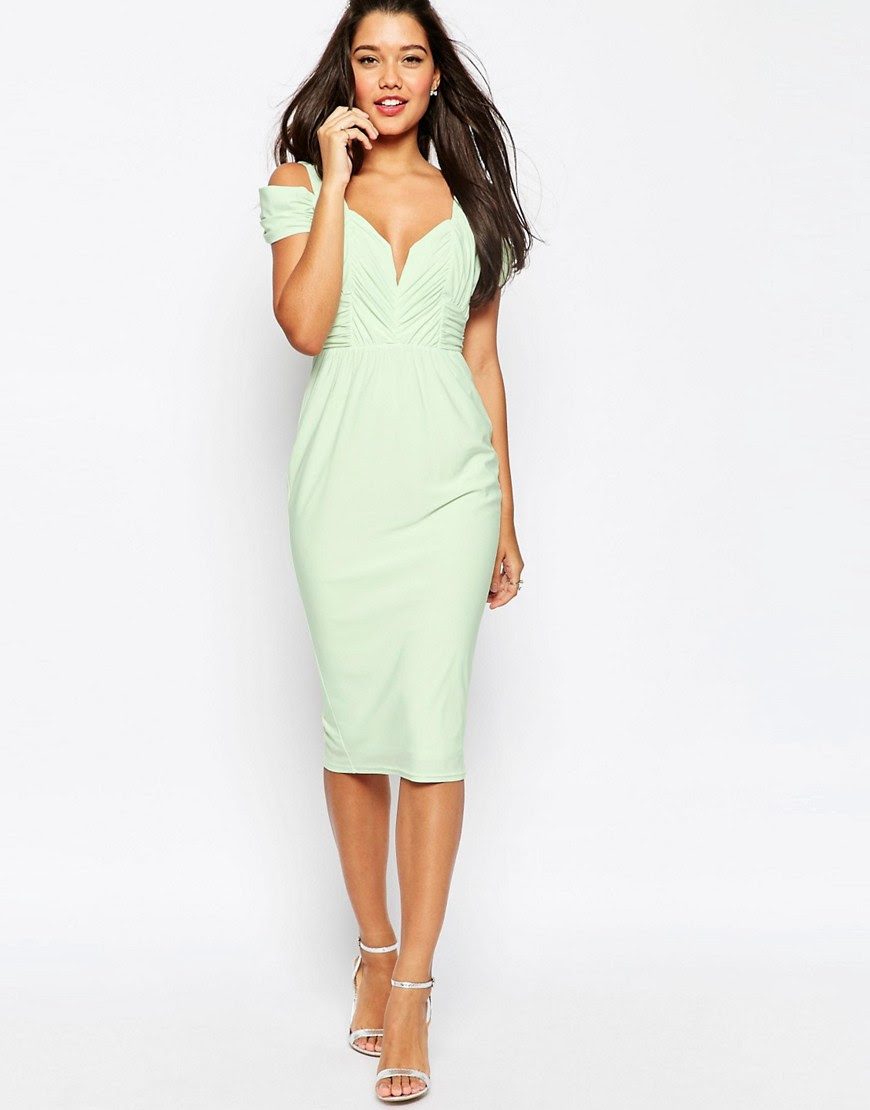 Image 1 ofASOS Drape Cold Shoulder Midi Pencil Dress