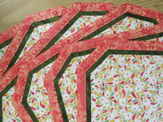 Quilted Placemats   Songbird Coral                 by QuiltinWaYnE