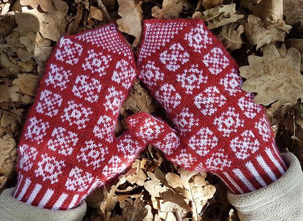 Dambrod Mittens - Knitting Pattern