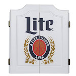 Trademark Global ML7000-WHT Vintage Miller Lite Dartboard Set with Chalk Board Scoreboads
