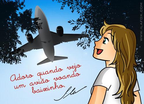 ila fox adora um avião voando baixo - ilustração
