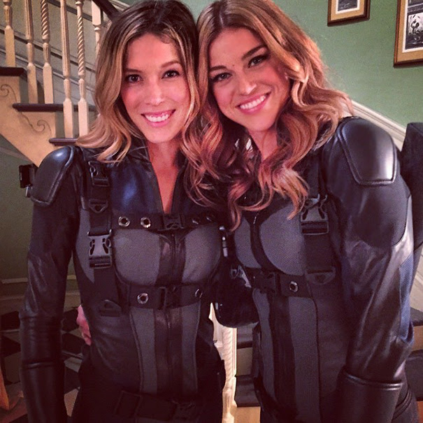 Adrianne Palicki With Her Stunt Double Alicia Vela-Bailey On The Set Of Agents Of S.H.I.E.L.D.