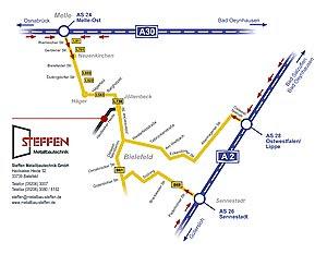 Anfahrtsskizze für Metallbau Steffen