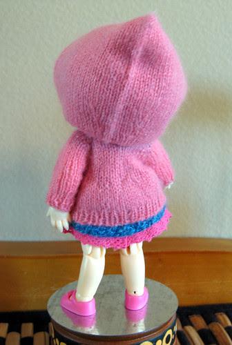 back, Puki hooded cardigan prototype