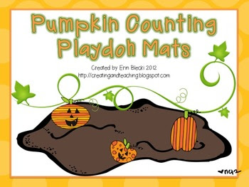 Pumpkin Counting Playdoh Mats