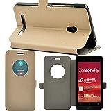 【ECMAX】ゴールド【全4色】 ASUS ZenFone 5 A500KL ケース カバー 手帳型 PUレザー素材 自動スリープ スタンド機能付き ECMAX正規代理品
