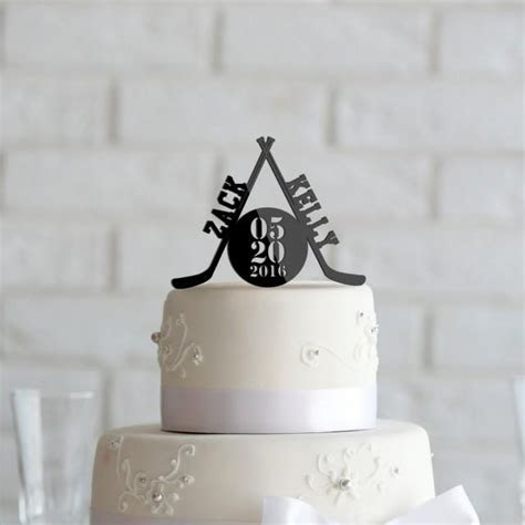 Hockey Theme Wedding Or Anniversary Cake Topper
