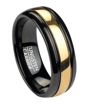 Men's Black Tungsten Wedding Band with Gold Tone Inlay