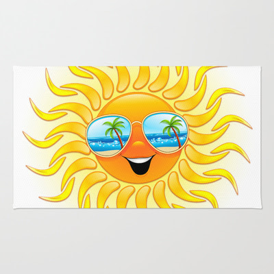 Summer Sun Cartoon with Sunglasses - RUG / 2' X 3' - $28.00