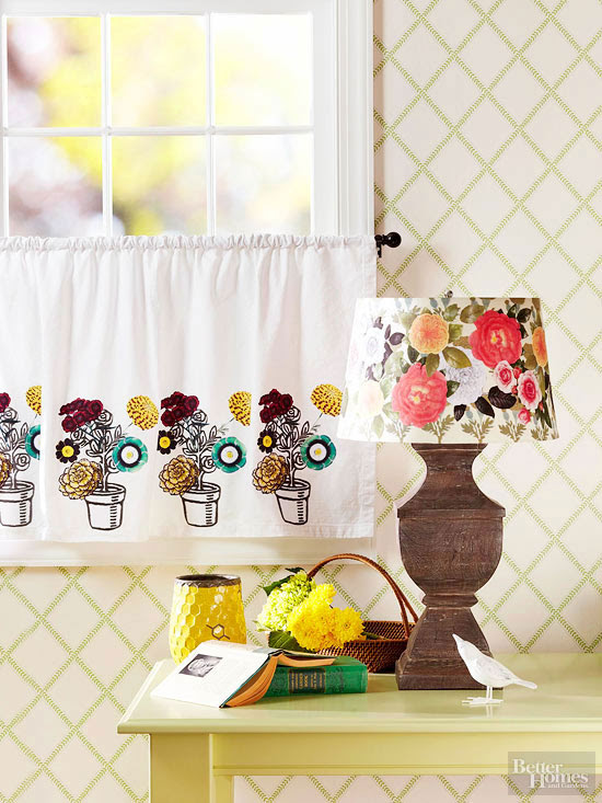 Floral Lampshade and Cafe Curtains