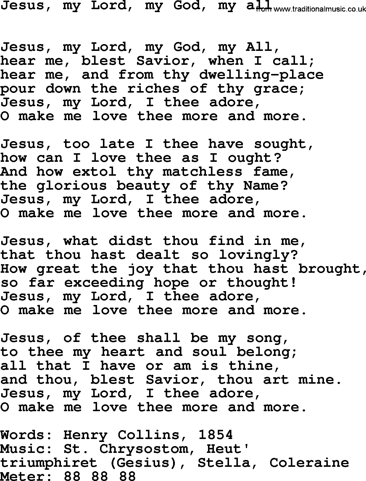 Easter Hymns Song Jesus My Lord My God My All Lyrics Midi Music And Pdf
