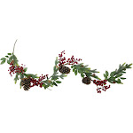 Northlight 5' Artificial Berries Leaves and Pine Cones Christmas Garland - Unlit