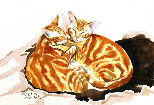 Dreaming Of Ginger - Orange Tabby Cat Painting by Dora Hathazi Mendes
