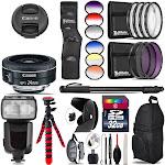 Canon EF-S 24mm f/2.8 STM Lens + Pro Flash + Filter Kit - 32GB Accessory Kit