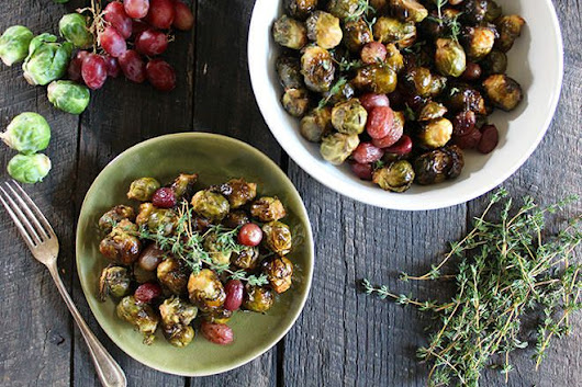 Balsamic Brussels Sprouts and Red Grapes