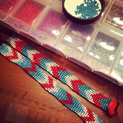Beaded bracelets in progress