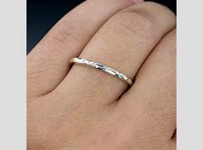 Thin White Sapphire Wedding Ring Skinny Hammered Texture Wedding Band