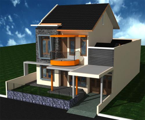 Desain rumah dua lantai yang elegan dan mewah.