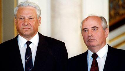 Yeltsin and Gorbachev