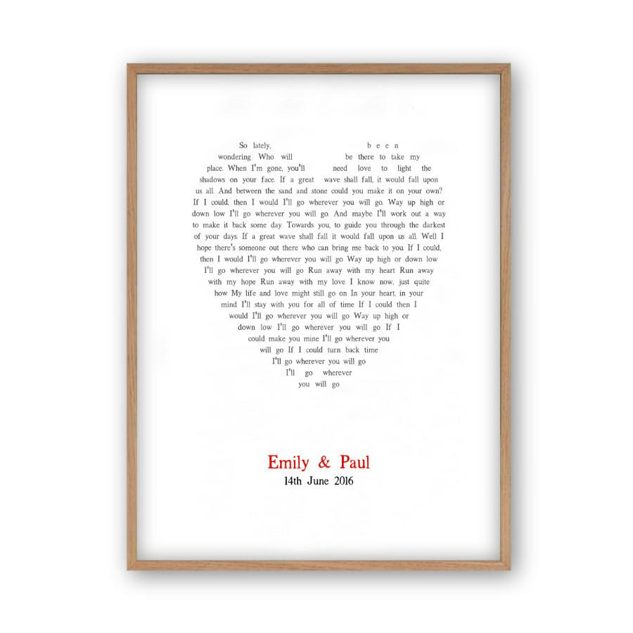 Personalised Wedding First Dance Song Lyrics Heart Print Blim And Blum