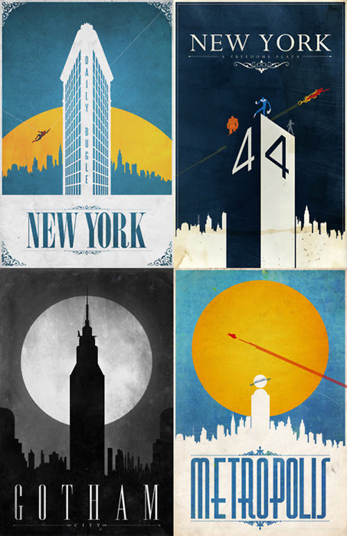 Gizmodo: Comic Book Travel Posters
