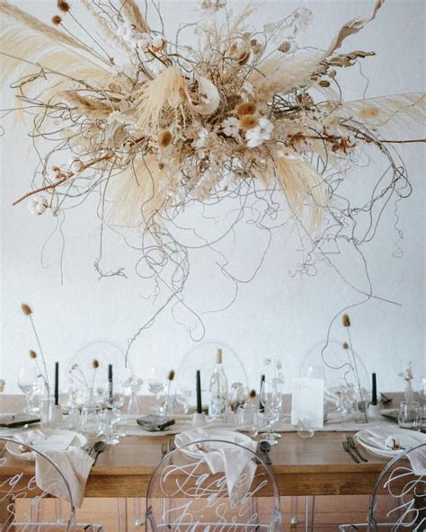 Dried Floral Wedding Installation with Cotton and Pampas