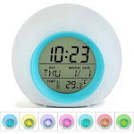 AUPERTO Kids Alarm Clock, Digital Display Wake Up Clock/7 Colors Changing Night Light Sleeping Timer for Boys Girls, Temperature and Calendar Display