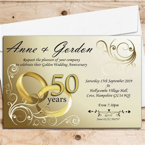 50 Personalised Golden 50th Wedding Anniversary
