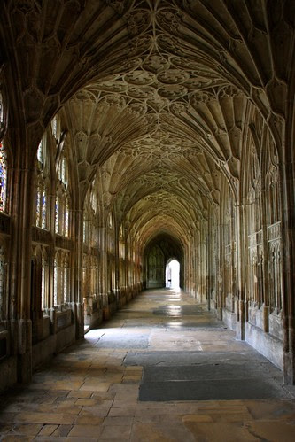 Cloister corridors at Gloucester Cathedral