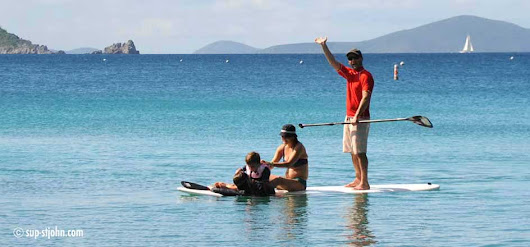 Family paddleboarding with kids and teenagers on St. John - SUP-StJohn