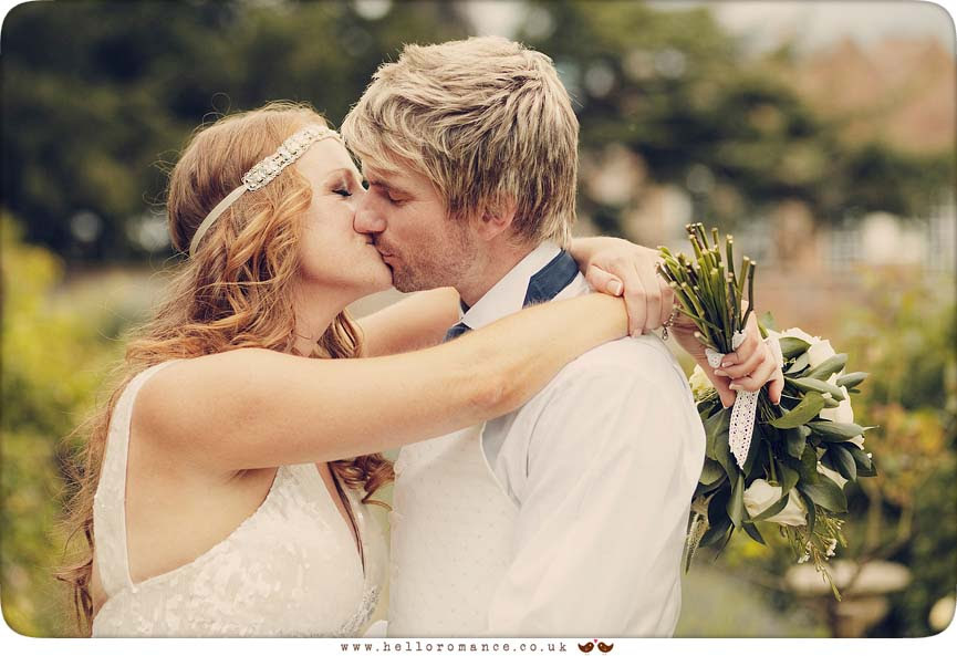 Kissing Wedding Couple, Glemham Hall Wedding Photography Suffolk - Hello Romance