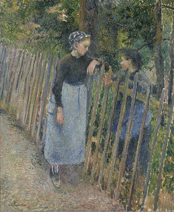 Conversación (1881) Camille Pissarro (Wikimedia Commons)