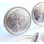 """4 Pack Western Saddle Bright Silver Concho 1-1/2"""" Screw Back By Hill Leather Company"""