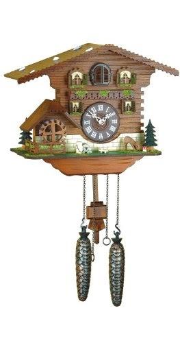 Cuckoo Clock Swiss House Turning Mill Wheel Incl Batteries