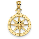 14kt Yellow Gold 3/4in Round Compass Pendant