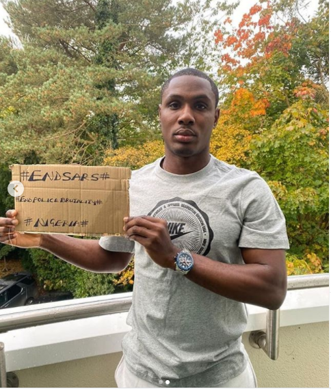 Manchester United striker, Odion Ighalo joins the #EndSARS campaign (Photos)