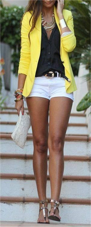 Black blouse, bright yellow blazer, and white shorts (sub for slacks). Great outfit for work. Shop now!