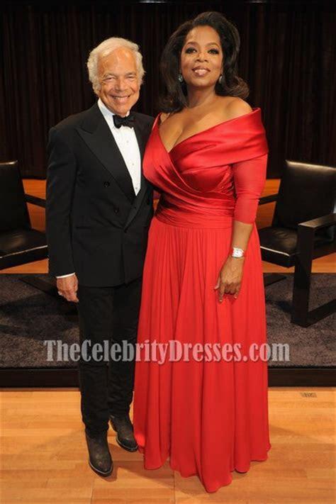 Oprah Winfrey Elegant Plus Size Red Formal Gown Lincoln