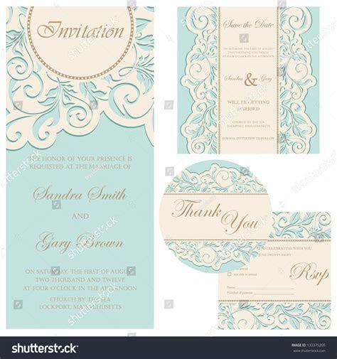 Set Wedding Cards Invitation Thank You Stock Vector