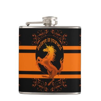 "Unicorn, ""Believe in yourself"" orange Hip Flask"