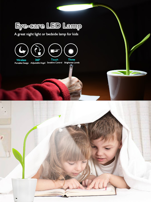 Amazon.com: iEGrow Flexible USB Touch LED Desk Lamp with 3-Level Dimmer and Decor Plant Pencil Holder(Green): Home & Kitchen