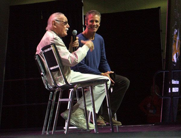 Stan Lee addresses the crowd at his Comikaze Expo in downtown Los Angeles, on November 2, 2013.