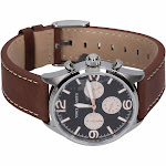 Vince Camuto Men's Black Dial Brown Leather Strap Watch