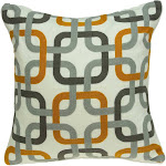 Parkland Collection Boxer Transitional Grey and Orange Pillow Cover With Down Insert