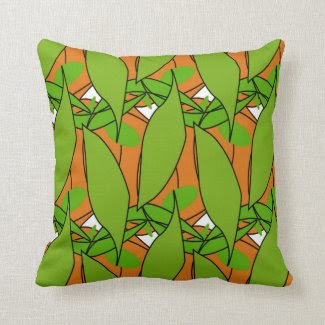 Leafy Green Pillow with Orange Accents