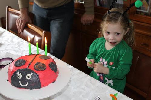 Amelia and her ladybug cake
