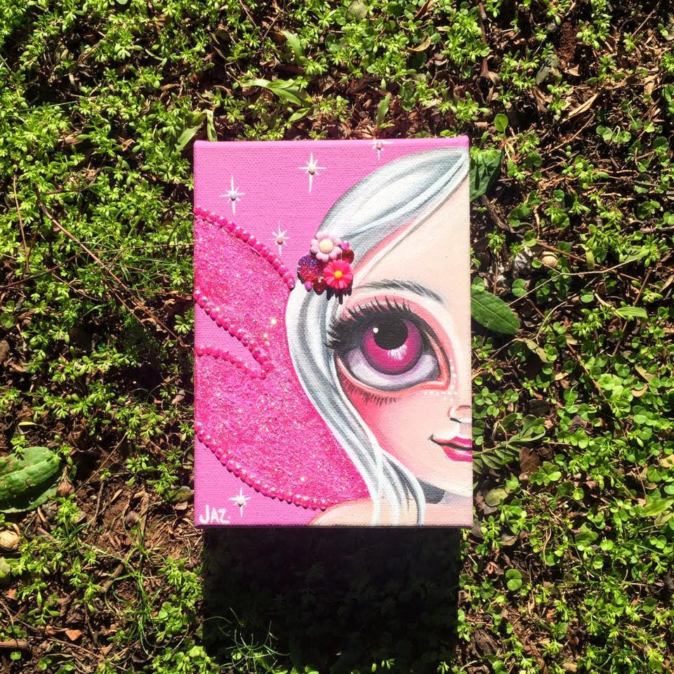 http://www.ebay.com.au/itm/ORIGINAL-PAINTING-Fushia-Glitter-Wings-Canvas-Fairy-Big-Eye-Girl-Jaz-Higgins-/272295071684?hash=item3f660d0fc4