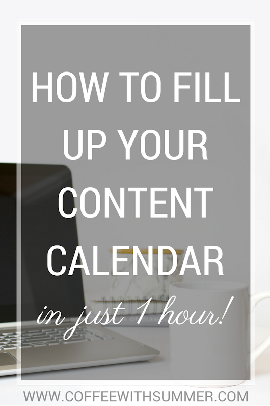 How To Fill Up Your Content Calendar
