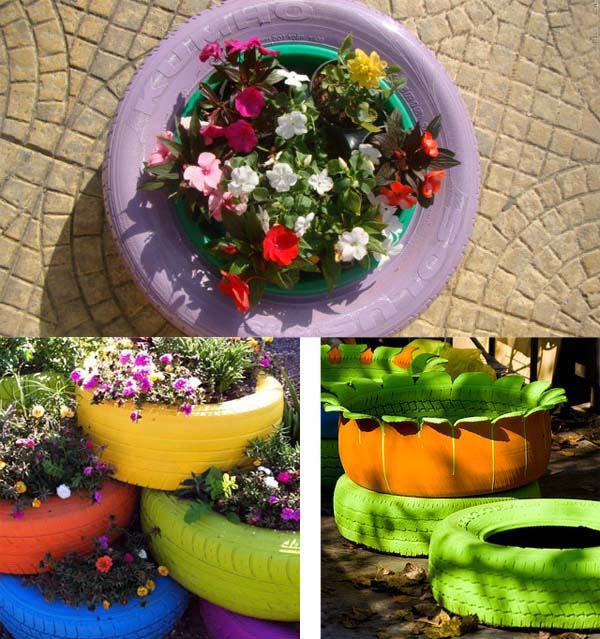 DIY Garden decoration Ideas with old car tires flower pots