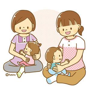 クリップアート赤ちゃんとママの産後ケアイラスト 子供と動物の